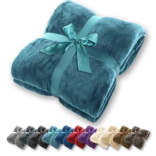 Gräfenstayn® coperta morbida - tante dimensioni e colori diversi - coperta in microfibra da soggiorno copriletto copri divano - vello in microfibra di flanella (turchese, 240x220 cm)