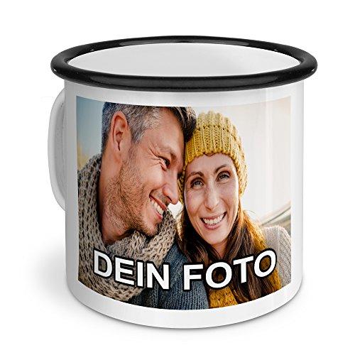 PhotoFancy - Emaille-Tasse mit Foto Bedrucken Lassen - Blechtasse Personalisieren - Nostalgie-Becher selbst Gestalten (Groß [400 ml], weiß mit schwarzem Mundrand)