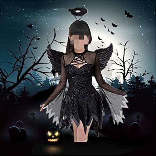 QWWR Halloween erwachsenen schwarzen und weißen Engel Kostüm Vampir Dämon Party Kostüm Maskerade weibliche Größe Leistung Kleidung Kinder Engel XXXL (Dämon Kostüm Weiblich)