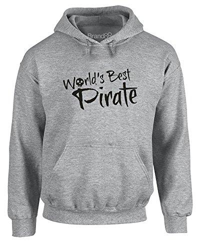 Brand88 World's Best Pirate, Adults Gedruckt Hoody - Pullover - Grau/Schwarz M = 96-101 cm