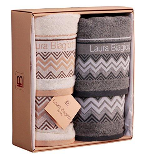 Set spugna 4 pezzi coppia 2 + 2 laura biagiotti ospite 40 x 60 + asciugamano 60 x 100 100% spugna di puro cotone confezione regalo (alessandria bianco - grigio)