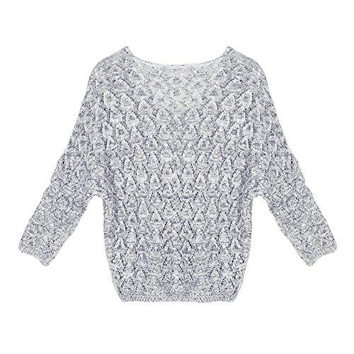LAEMILIA Blouse Pull Femmes Autumn Sweat-shirt Manches Longues Col Rond Knit Tops Gris