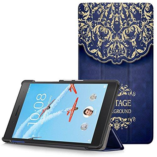 Lenovo Tab 7 Essential Hülle - Ultra Dünn und Leicht PU Leder Schutzhülle mit Standfunktion für Lenovo Tab 7 Essential 17,78 cm (7 Zoll) Tablet-PC, Blume Rattan (Nicht für Lenovo Tab3 7 Essential)