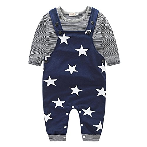 Koly Newborn Baby Boys Pants Sets Stripe T-shirt Tops + Bib Pants Set Overall Outfits