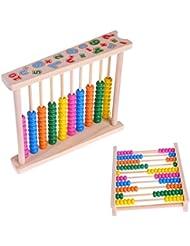 Suweqi Holz-Abacus Rechenschieber In Regenbogen-Farben Zum Rechnen Und Zählen Für Die Kleinen - Rechenrahmen In Tollen Bunten Farben Ca. 25 X 12 X 32 cm Ab 3 Jahren