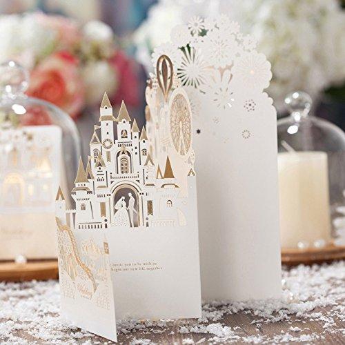"""1x """"boda Fantasia"""" 3d corte láser boda en castillo tarjetas de invitación en color champán, envuelve a juego, Free a juego en blanco Tarjeta de inserción y libre Seal"""