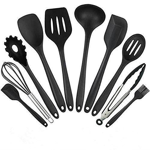Set di utensili da cucina, utensili da cucina in silicone Set da 10 pezzi Utensili antiaderenti non tossici resistenti al calore Set Utensili da cucina universali