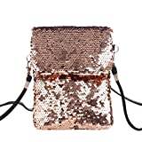Fenical Doppelseitige Pailletten Umhängetasche Schultertasche Bunte Mini Square Bag Handytasche (Roségold)
