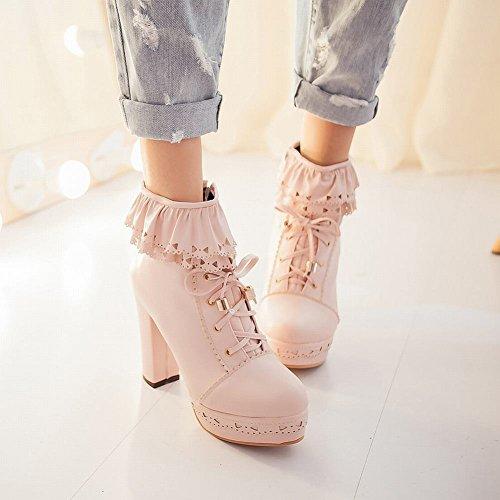 Mee Shoes Damen süß Borte Reißverschluss chunky heels Plateau Ankle Boots Pink