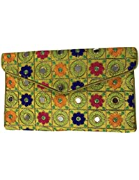 Shubhangi Women's Sling Bag (Jaipuri Embroidered Handicraft Traditional Sling Bags,Multi-Coloured, R32004 Yellow)