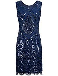 PrettyGuide Women Vintage 1920s Sequin Beaded Double Side Scalloped Hem Flapper Dress