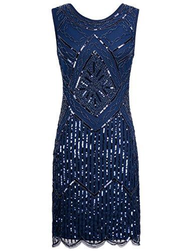 PrettyGuide Damen Weinlese 1920 Pailletten Perlen Double Sided ausgebogter Rand Flapper Kleid S...