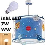 LED Lampe Kinderzimmer Decke Pendelleuchte Weltall 41342 Warmweiß 500lm Mädchen & Jungen
