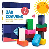 MUSCCCM 12 Colors Toddler Crayons, Washable Crayons Non-Toxic and Safe Block Crayons for Children, Kids, Students