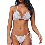 Zolimx Donna Bikini, Donna Floreale Push-Up Imbottito Reggiseno Bikini Set Costume da Bagno Balneazione (S, White)