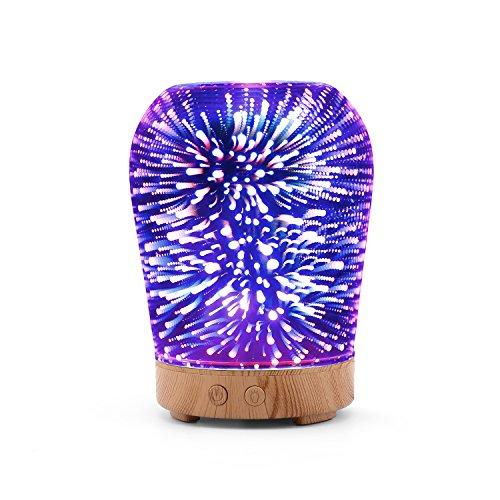 MoKo 3D Humidificador de Aceite Esencial, 100ml Humidificador Ultrasonido de Aire Fresco de Niebla, 16 Colores Cambio de Luces con Función de Cierre Automático para la Casa,Oficina,Yoga,etc.- Colorido
