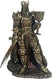eindrucksvolle Statue King Arthur, Arthus, Artus, Kunststein bronziert, hochwertige Arbeit