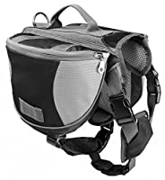 Hunderucksack für Große Hunde Reisen Camping Wandern Satteltasche Hundegeschirr Backpack Schwarz M