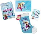4in1-SET Disney Die Eiskönigin Freundebuch (A5) + 5 Gelstifte + Stickerset und Frozen Weihnachtsstiefel