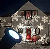 LUCKY CLOVER-A Christmas Halloween LED Snowflakes Projector Light Waterproof Lamp Sparkling Landscape for Outdoor Decor Stage Holiday Home Decoration Wall Motion Decoration lighting , white