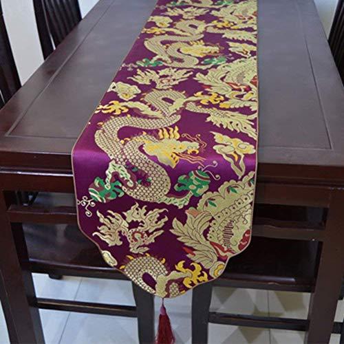Mantel Camino de Mesa/Bandera de Mesa de Grano dragón/Bandera de Mesa de Brocado/Bandera de Cama - A 33x195cm (13x77 Pulgadas) (Color : E, tamaño : 33x195cm(13x77inch))