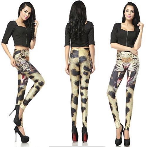 THENICE Sexy Elastic Gedruckt dehnbar Strumpfhosen Damen Leggings Pants Tiger-Muster