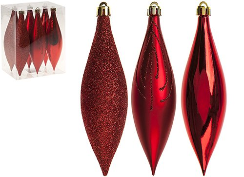 christmasshop PMS Set von 6 15 cm Drop Dekorationen in PVC-Box rot