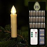 30er Christbaumkerzen LED Mini 10 cm kabellos Dimmen Flackern Baumkerze-Set mit Batterien