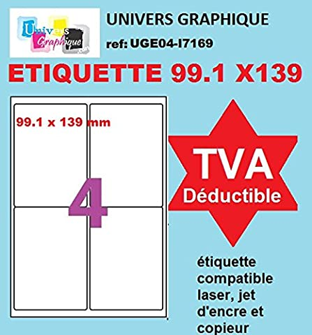 400 étiquettes 99 x 139.1 mm étiquette adhésive - 100 feuilles de 4 étiquettes type A6 détourée 99 x 139 pour imprimante jet d'encre et laser ref UGE04- l7169