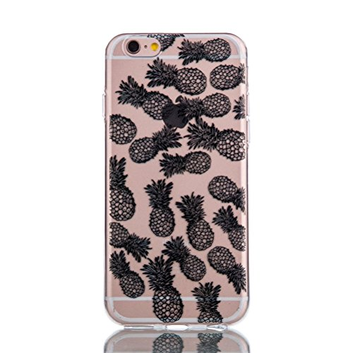 Custodia in silicone nero iPhone 6 4.7 pollici, iPhone 6S, colore: nero, con design, vioela Unique Pretty Pizzo Floreale Nero Art Flower Henna Mandala elefante Ananas Dandelion Pittura Dipinto Design  Pineapple