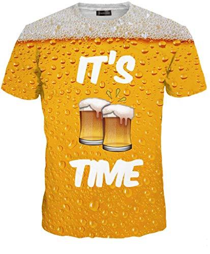 Cotton Blend Short Sleeve Shirt (jeansian Unisex Herren Damen Realistic 3D Digital Print Couples Short Sleeve T-Shirts Casual Tees LYT067 Yellow M)