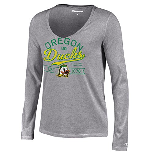 Champion NCAA Damen Universität Lange Sleeve V-Neck T-Shirt, Damen, NCAA Women's University Long Sleeve V-Neck T-Shirt, grau, Small -