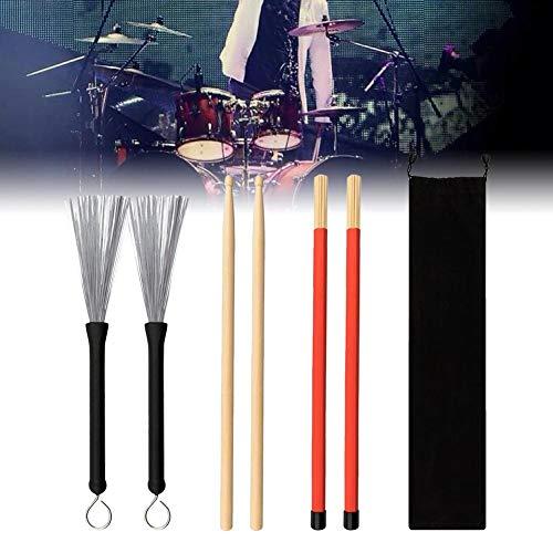 Trommelstöcke Set-Jazz Folk Rock Band 1 Paar 5A Drum Rod Sticks Drahtbürsten mit Aufbewahrungstasche für Kinder Erwachsene Studenten