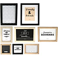 THE HOME DECO FACTORY – Set di 8 Cornici Foto, Legno + PVC, Nero/Bianco/Marrone, 22,2 x 2 x 27,3 cm