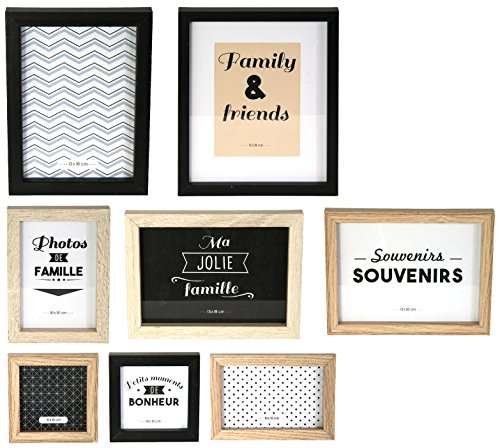 THE HOME DECO FACTORY HD4691 Lot de 8 Cadres Photos Bois + PVC, Noir/Blanc/Marron, 22,2 x 2 x 27,3 cm