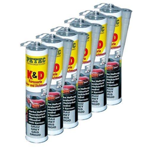 Preisvergleich Produktbild 6x PETEC K&D Karosserie Klebe- und Dichtmasse Klebemasse Dichtmasse Karosseriekleber Klebstoff Kleber Kartusche 310ml grau