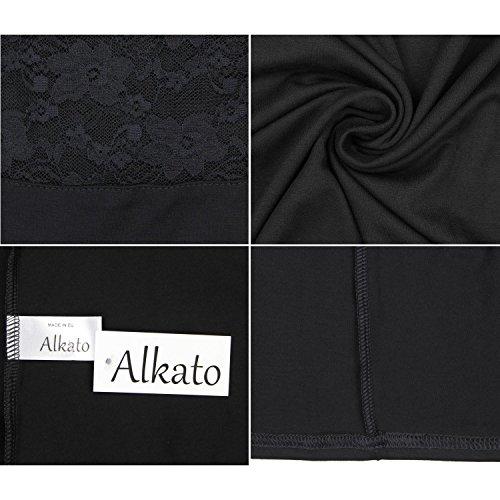 Alkato Damen 3/4 Arm Shirt mit Floraler Spitze Schwarz