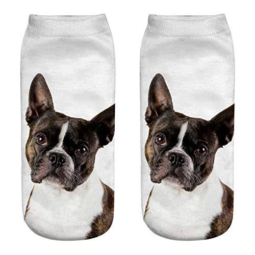 (GSYDWZZH 5x 3D Socken Cartoon Tier Hunde 3D Print Art weiblich Hund Strümpfe Fun Dog Creative Sommer Seamless Moderne Socken Socken Weiblich Gute, JP233)