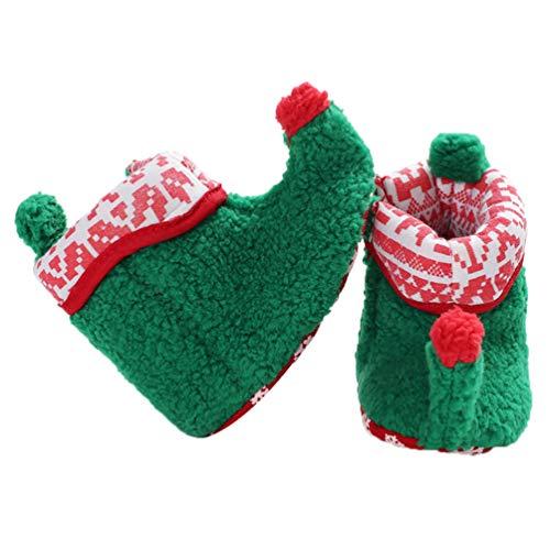 Fenical Baby Weihnachten Elf Fleece Slipper Booties Schuhe Säugling Neugeborenen Kleinkind Winter warme Slipper Stiefel Elf Kostüm Zubehör für Baby Mädchen oder Jungen (grün 11cm) -