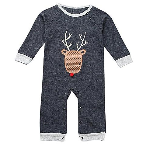 Le SSara Baby Boy Long Sleeve Cartoon Romper Christmas Bodysuit