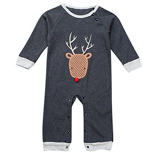 Le SSara Bambino ragazzo manica lunga Cartoon Romper abiti di Natale Costume Bodysuit (6-12 Mesi, A-grigio scuro)