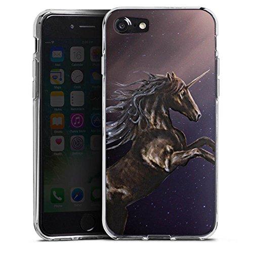 Apple iPhone X Silikon Hülle Case Schutzhülle Einhorn Unicorn Schwarz Pferd Silikon Case transparent
