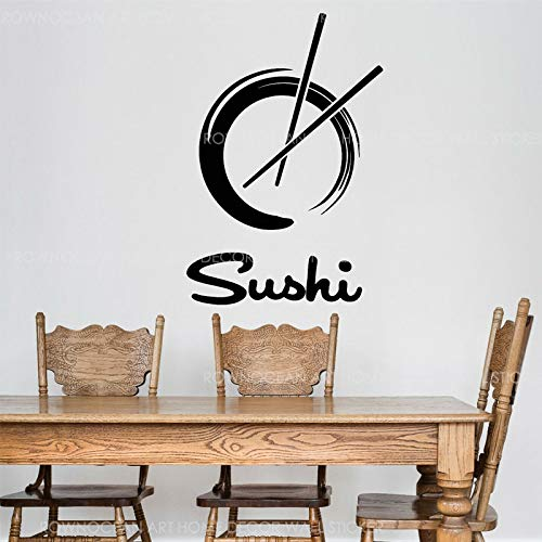 WDQTDW Wandaufkleber Wall Sticker Sushi Restaurant Logo Kreis Enso Vinyl Wall Sticker Abnehmbare Wandbild Japanisches Essen Aufkleber Innen Selbstklebende Tapete -