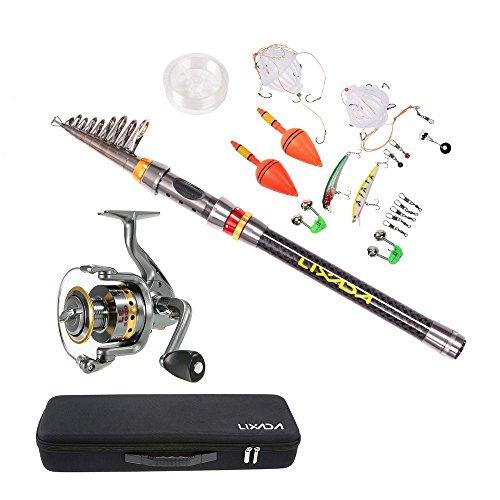 Lixada canna da pesca 1.8m/2.1m/2.4m/2.7m/3m+mulinello le5000+pesca borsa+altri pesca accessori (combo a, 3.0m)