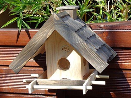 Vogelhaus + XXL-FUTTERSILO,mit Ständer,K-VOWA3-MS-at001 NEU PREMIUM-Qualität,Vogelhaus,mit Ständer KLASSIK-PREMIUM-Qualität,Vogelhaus,1,5 L Silo+ SICHTSCHEIBE RUND / GLAS, FUTTERVORRAT-SILO – VOGELFUTTERHAUS , Qualität Schreinerware 100% Massivholz – VOGELFUTTERHAUS MIT FUTTERSCHACHT-Futtersilo Futterstation Farbe schwarz lasiert, anthrazit / Holz natur, Ausführung Naturholz MIT TIEFEM WETTERSCHUTZ-DACH für trockenes Futter, mit Futterschacht zum Nachfüllen oben - 2