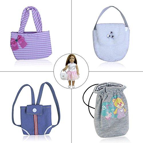 TA ELEMENT Puppe Mode Handtasche Set von 4 für American Girl Doll 45-46cm Götz Puppen, My Life Puppe, unsere Generation und andere 18 Zoll Dolls Mix (Bilder Ken Und Barbie Kostüm)