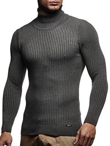 LEIF NELSON Herren Pullover Strick Rollkragenpullover Hoodie Longsleeve Basic Rollkragen Sweatshirt langarm Sweater Feinstrick LN1670; Gr_¤e XL, Anthrazit (Rollkragen-pullover)