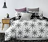 DecoKing Premium 84779 Bettwäsche 135x200 cm mit 1 Kissenbezug 80x80 grau schwarz weiß mit Blumenmuster Blumen Bettbezüge Microfaser Hypnosis Alpin