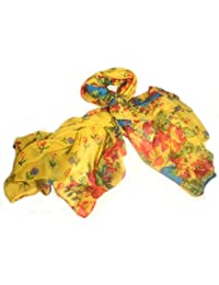 PRESKIN - Wonderful scarf with flower print in different colors, versatile combinable shawl or pashmina with a cheerful spring motif