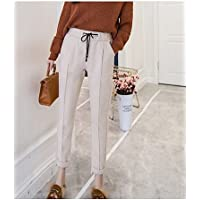 TT&NIUZAIKU Mujer Tiro Alto Pantalones Harén Pantalones - Un Color, Lazo , beige , xxl